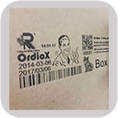 industrial printing with OrdioX eco on boxes