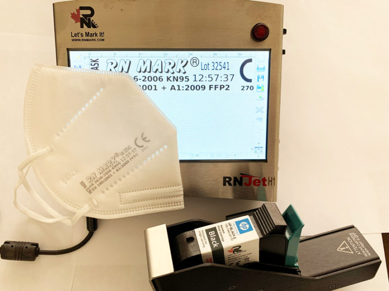 Thermal inkjet printing on face mask