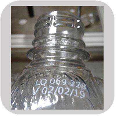 White Solvent Ink on Glass Bottle